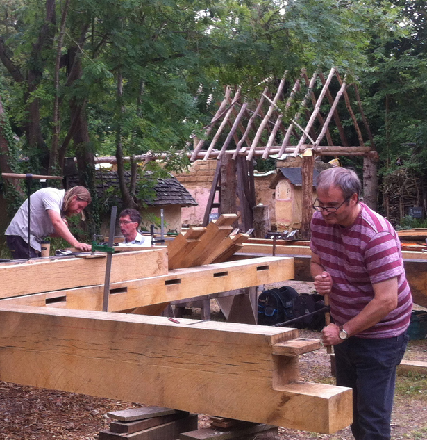 Advanced timber framing course at Orchard Barn
